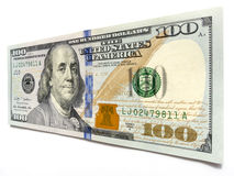 Sträckning av din budget- nya hundra dollarräkning med Ben Franklin Royaltyfri Fotografi