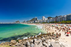 Strände Copacabana und Leme in Rio de Janeiro Lizenzfreies Stockbild