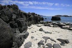 Stränder och hamn nära Bahia Inglesia, Caldera, Chile royaltyfria bilder