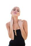 Sträng sexig blond modell som poserar för kamera royaltyfria foton
