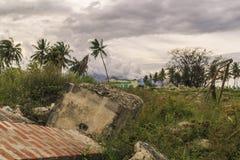 Sträng skada från jordskalv och smältning arkivbild