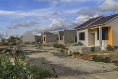 Sträng skada från jordskalv- och smältningnaturkatastrofer arkivbild