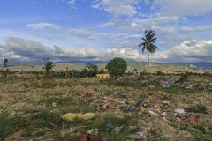 Sträng skada från jordskalv- och smältningnaturkatastrofer arkivfoto