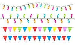 Stränger av ferie tänder, och födelsedagen sjunker vit royaltyfri illustrationer
