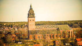 Strängnäskathedraal - een kathedraalkerk in Strängnäs, Zweden Stock Fotografie