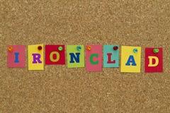 Strängt ord som är skriftligt på färgrika anmärkningar Fotografering för Bildbyråer
