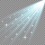 Strålar av ljus med stjärnor, aquafärg royaltyfri illustrationer