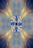 Strålar av ljus på en blå bakgrund Arkivfoto