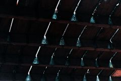 Strålar av ljust skina till och med sprickor mellan mörka trägolvtiljor royaltyfri bild