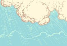 Strålar av solen som bryter till och med molnräkningen tecknade kvinnor för framsidahandillustration s Retro gravyr för tappning Fotografering för Bildbyråer