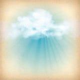 Solljusstrålar till och med molnvektorbakgrund Arkivfoto
