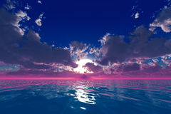 Strålar i moln över havet Royaltyfria Bilder