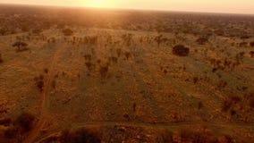 Strålarna av inställningssolen exponerar naturen av Namibia stock video