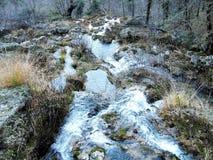 Strålarna av världsfloden i toppiga bergskedjan de Alcaraz Arkivbild