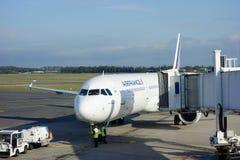 Stråle för Air France flygbuss A321 på Montpellier den medelhavs- flygplatsen Arkivfoto