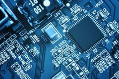 stråle för effekt för brädeströmkretsclose elektronisk upp x Arkivfoto
