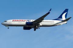 Stråle för TC-JFJ Anadolu, Boeing 737 - 800 namngav AGRI Fotografering för Bildbyråer