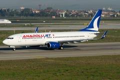 Stråle för TC-SAK Anadolu, Boeing 737 - 800 Arkivbild