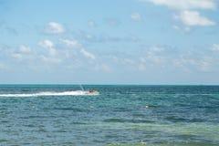 Stråle-skidåkare som har gyckel nära stranden i Cancun royaltyfria foton