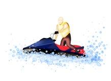Strålfartyg: Mannen som rider en stråle, skidar på vattnet royaltyfri illustrationer