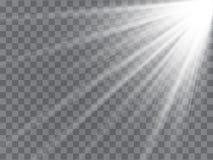 Strålkastarestrålar med strålar på genomskinlig bakgrund Prålig ljus vektor stock illustrationer