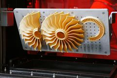 Strålturbinpropellern - fläkta, 3D utskrivaven danande royaltyfri fotografi