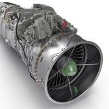 Strålturbofan motor på vit 3D illustration, snabb bana Fotografering för Bildbyråer