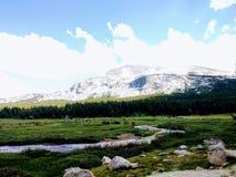 Ström med det snöig berget Royaltyfria Bilder