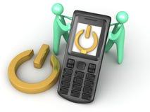 Ström på mobiltelefon Arkivfoto