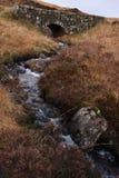 Ström som flödar under den gamla stenbron royaltyfria bilder