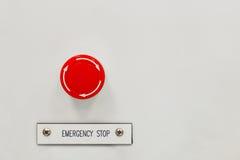 Strömbrytare för knapp för nöd- stopp royaltyfria foton