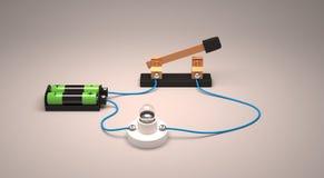 Strömbrytare för visning för elektrisk strömkrets öppen genom att använda en ljus kula och batterier Arkivfoto