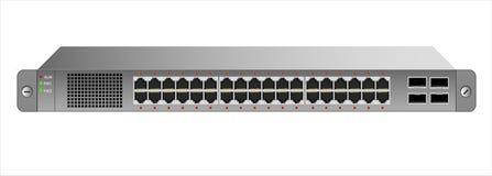 Strömbrytaren för Ethernet 1U för montering med en 19 tum kugge med 40 portar, inklusive fyra ryggrader stock illustrationer