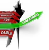 Strömen Kabelfernsehen-Betrachtung der Schlag-Satellitensendungs-DVD stock abbildung