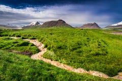 Strömen Sie das Fließen von den Bergen nach dem Regen, Island Lizenzfreies Stockbild