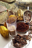 Strömende heiße Schokolade in einem Glas, in den Kakaobohnen, im Kakaopulver und in der Schokolade Lizenzfreies Stockbild
