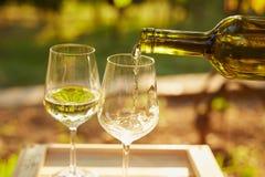 Strömender weißer Wein stockbild
