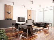 strömförande modern lokal för interior 3d royaltyfri illustrationer