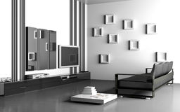 strömförande modern lokal för interior 3d Royaltyfria Bilder