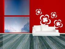 strömförande modern röd lokal för designelegansinterior Royaltyfri Foto