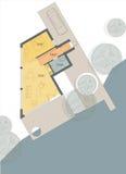 strömförande plan för bungalowgolvhus Royaltyfri Fotografi
