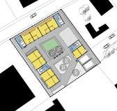 strömförande plan för golvjordningshus Arkivbilder