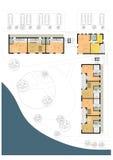 strömförande plan för golvjordningshus Arkivfoto
