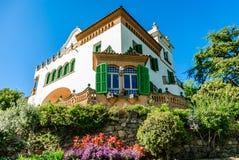 strömförsörjning en spain för arenasbarcelona corrida spanskt hus i trädgården royaltyfri fotografi
