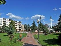 Strömförsörjningen för Å-½ivinicen parkerar och moskén Arkivfoto