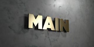 Strömförsörjningen - guld- tecken som monteras på den glansiga marmorväggen - 3D framförde den fria materielillustrationen för ro Royaltyfri Foto