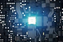 strömkretsbräde för tolkning 3D teknologi för planet för telefon för jord för binär kod för bakgrund För processorCPU för central Arkivfoto