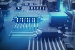 strömkretsbräde för tolkning 3D teknologi för planet för telefon för jord för binär kod för bakgrund För processorCPU för central Royaltyfria Foton