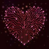 Strömkretshjärta med röda neonljus Arkivfoton