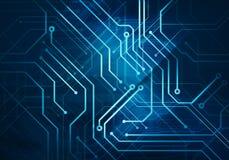 strömkretsmikrochips på mörker - blå bakgrund Arkivfoto